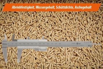 Analyse II a - Pellets ENplus/DINplus mit ausgewählten Parametern: Festigkeit, Wasser-, Aschegehalt